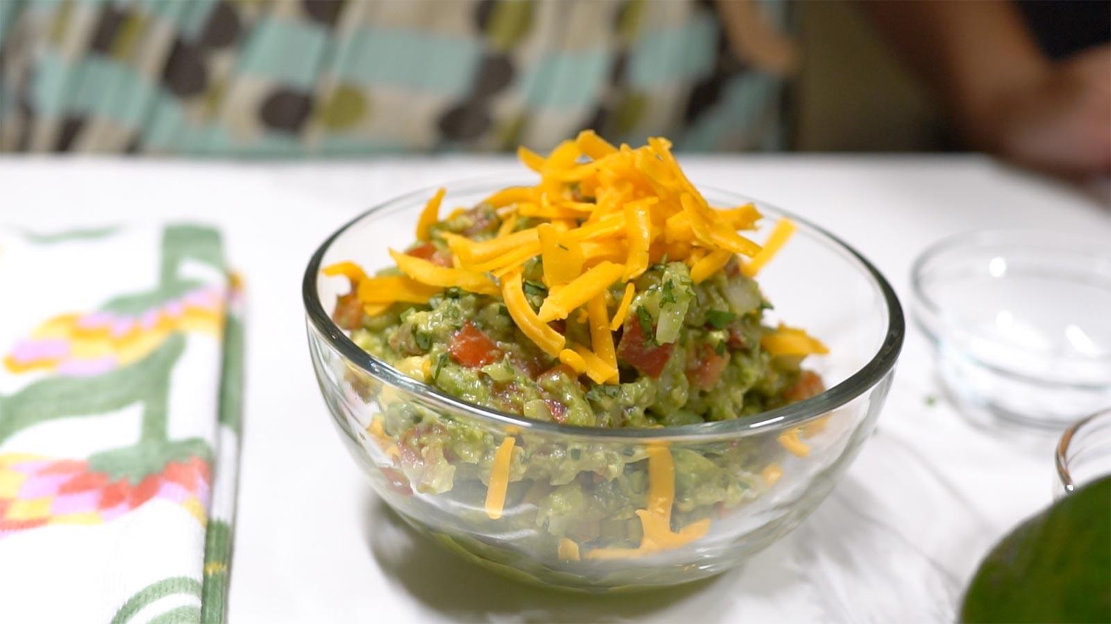 Tropical avocado and chayote squash guacamole dip recipe