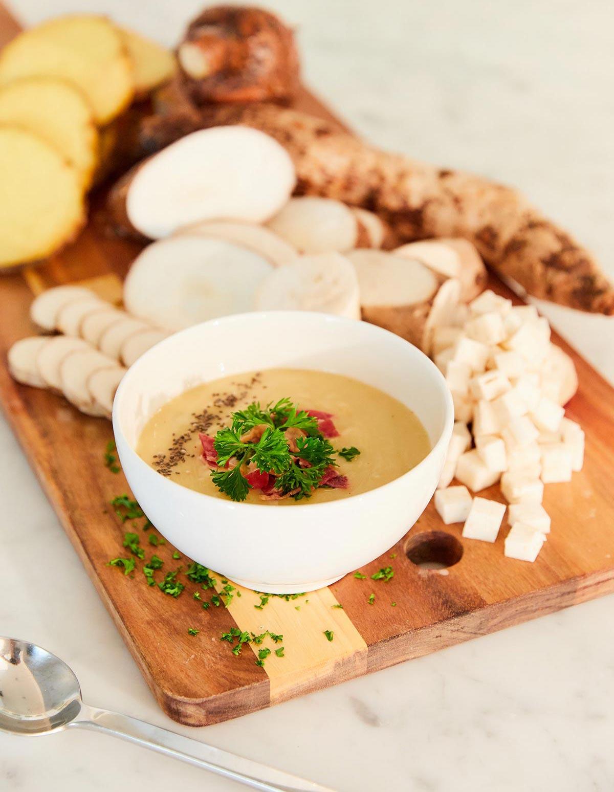 Creamy bowl of cuban malanga soup