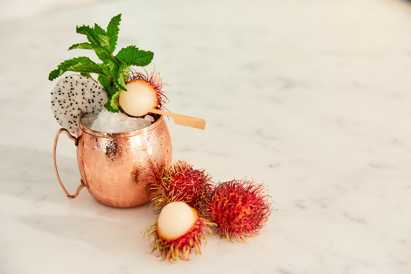 Tropical dragon fruit and rambutan moscow mule cocktail recipe