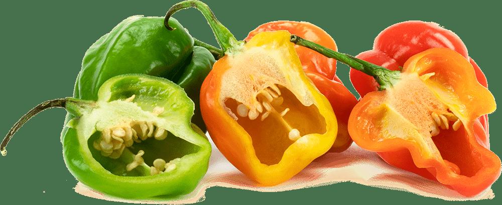 Tropical peppers cut in half