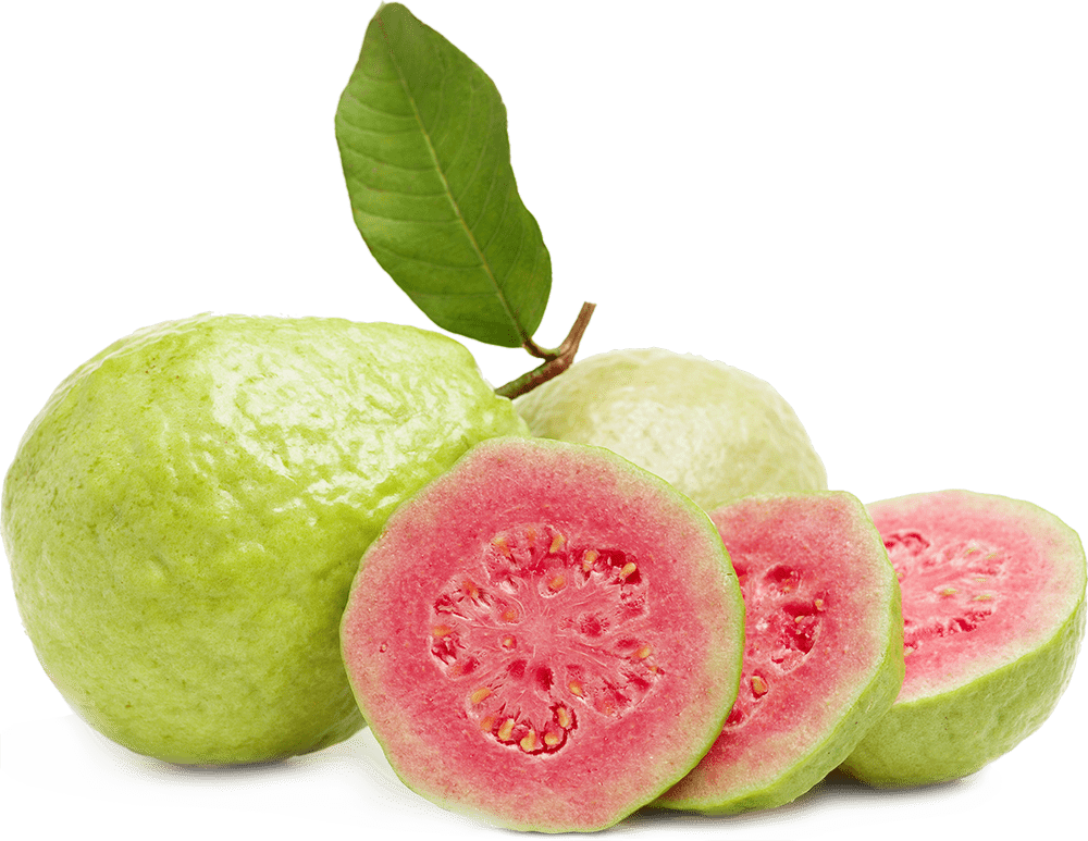 Exotic red guava fruit cut in pieces