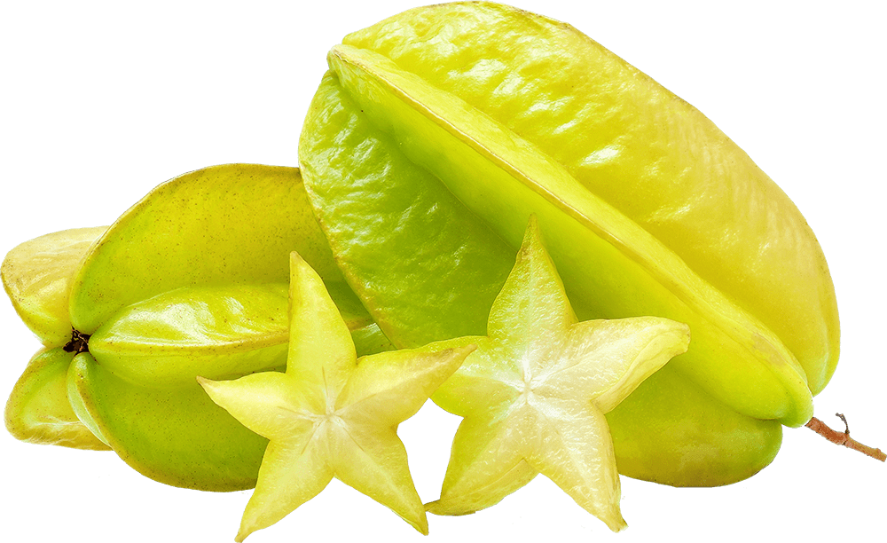 Homegrown Starfruit or carambola cut in pieces