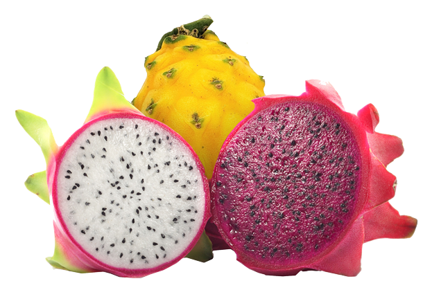White, red, and yellow dragon fruit varieties cut in half