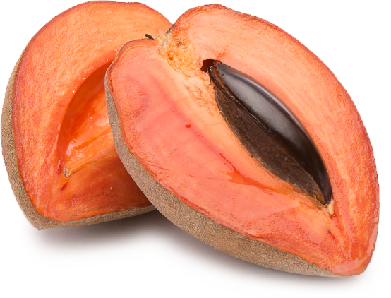 Mamey or sapote fruit cut in half