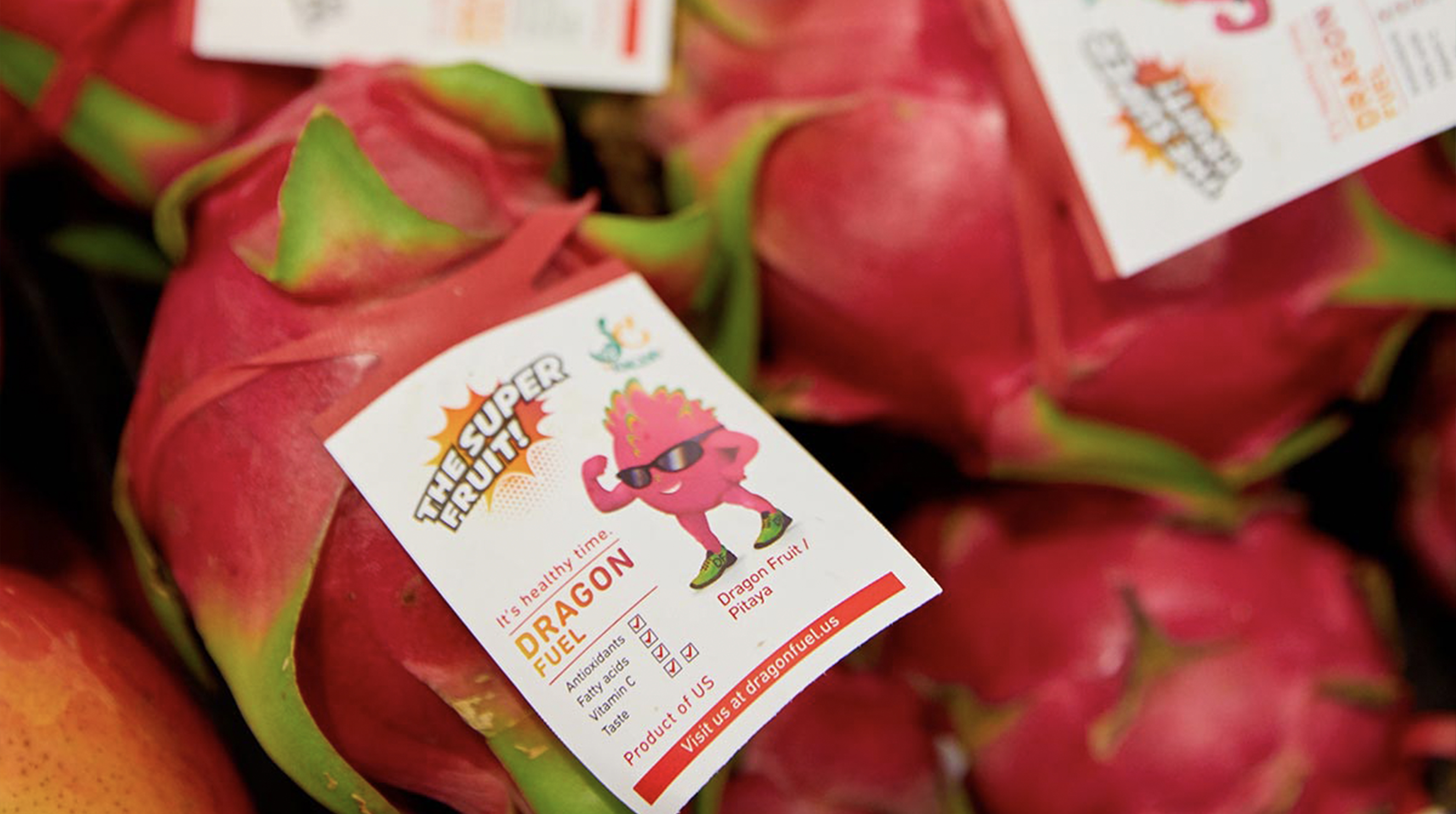 Dragon fruit with elastic tag to manage and track