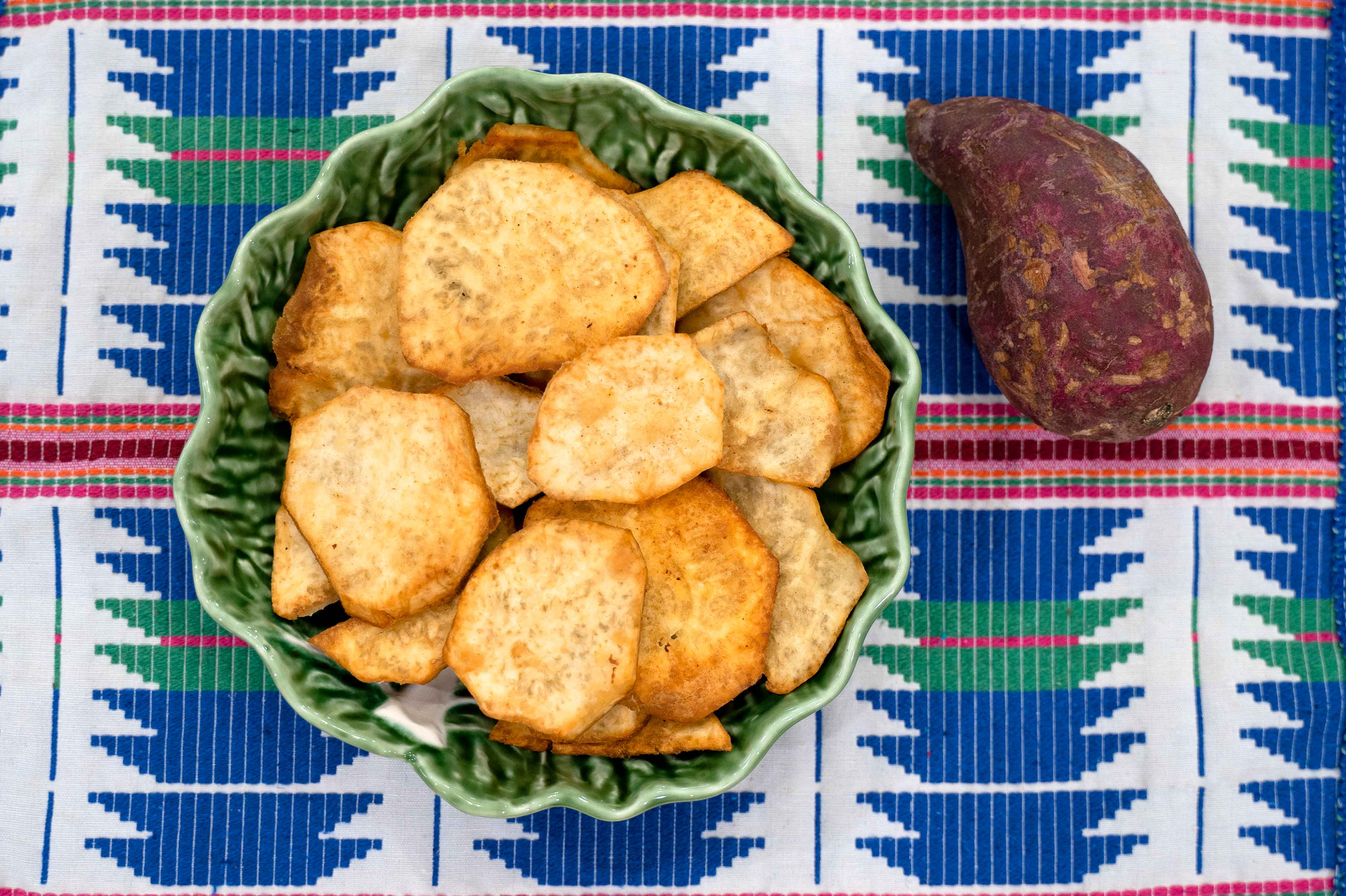 Fried boniato chip recipe