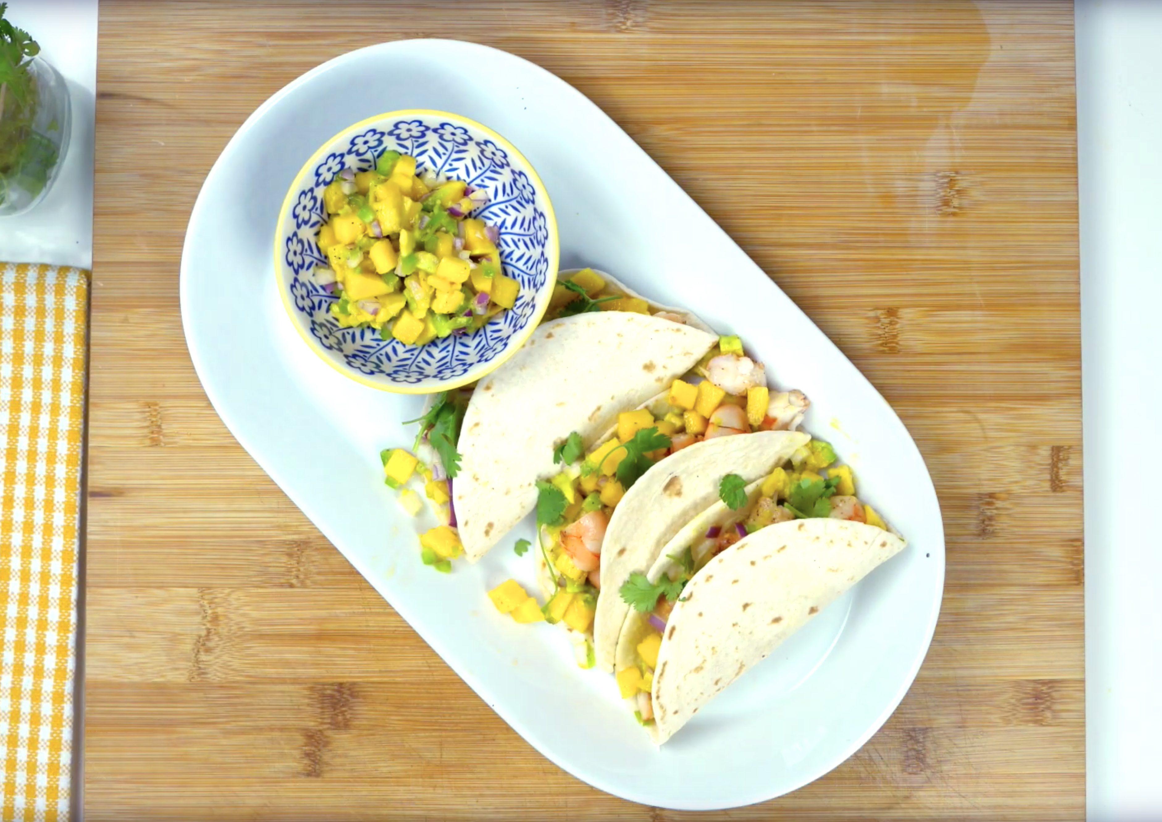 Tropical mango and shrimp taco recipe