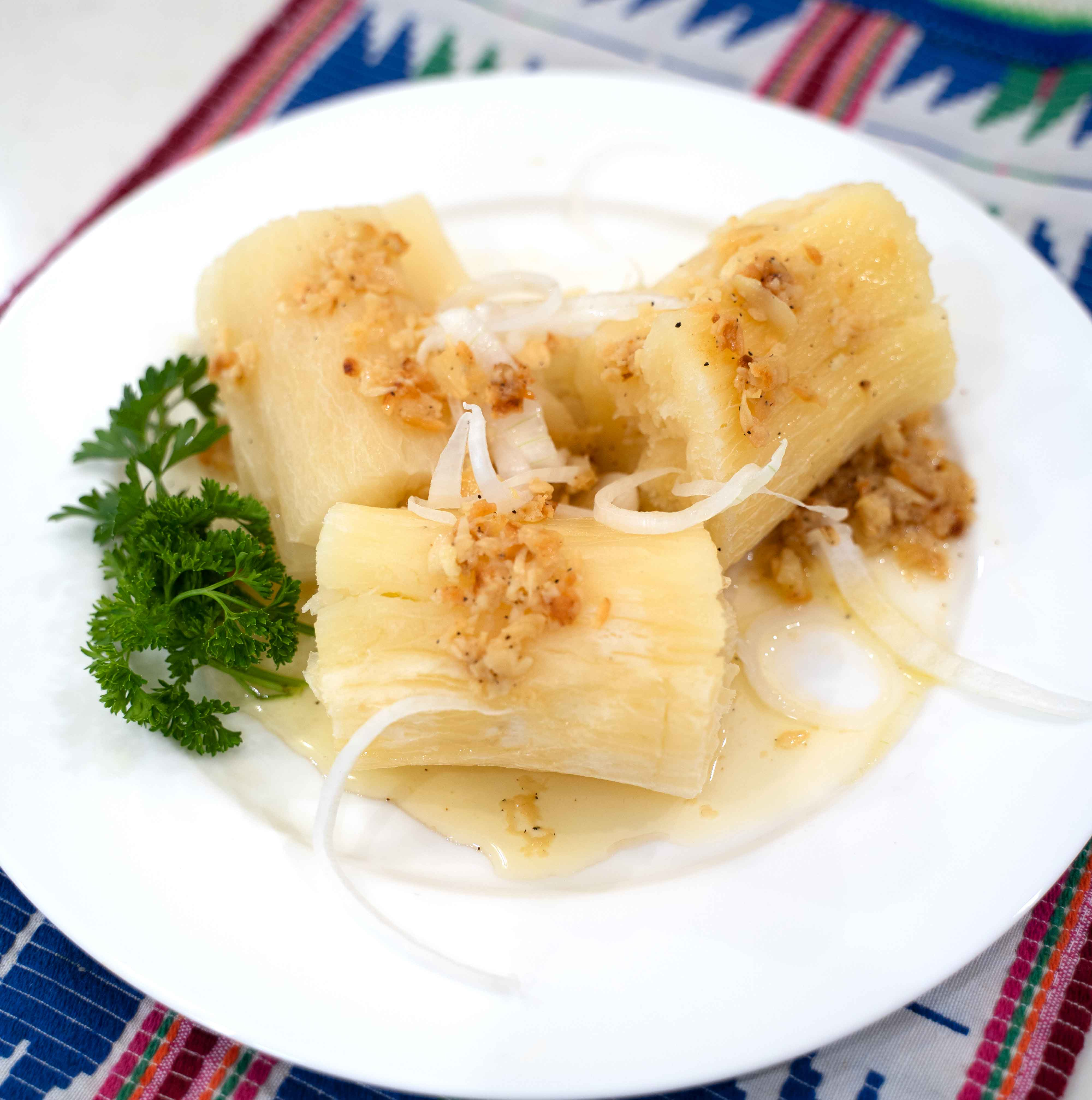 Boiled yuca recipe on a nice plate